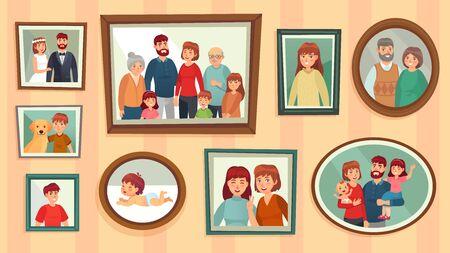 Marcos de fotos familiares de dibujos animados. Retratos de personas felices en marcos de pared, fotos de retratos familiares. Retratos enmarcados de generación de familias, ilustración de vector de decoración de pared de fotografía de dinastía