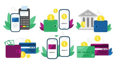 Money transactions. Cash transfers, mobile payments using smartphone and credit card transfer. Digital banking terminal, online payment service. Isolated vector symbols illustration set