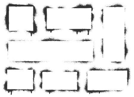 Spray paint graffiti stencil frames. Black airbrushing paint banner, stenciling backdrop and spray paint texture borders. Brush splash abstract rectangular stencil border. Isolated vector icons set Ilustração