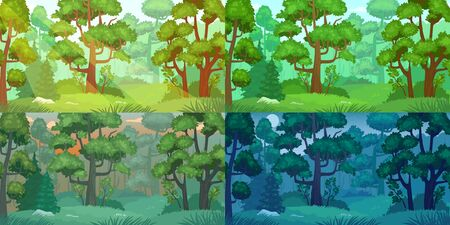 Daytimes forest landscape. Forest trees, sun shining woods and woodland nature day, night, morning and evening landscapes. Camp nature scene, wood ecosystem or green park cartoon vector set Ilustração