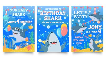 Invitation card with cute sharks. Baby shark birthday party, sharks family celebrate children birthday and invitations template. Sea party greeting card cartoon isolated vector illustration set Illustration