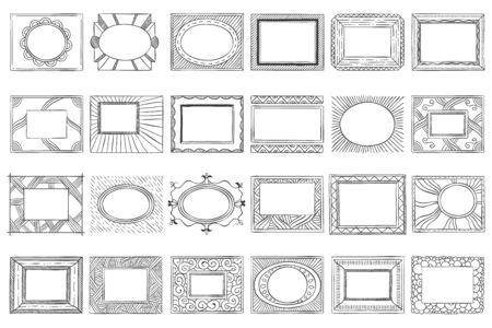 Hand drawn picture frames. Sketch frame, doodle style photo and art mirror frames. Square framing border, ink decoration doodle. Isolated vector icons set Ilustração