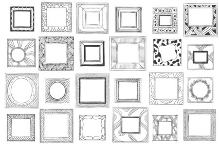 Square hand drawn frames. Sketch picture, doodle mirror or photo frame. Vintage framed painting, ornate photo borders or picture frames. Isolated vector symbols set