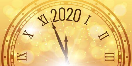 Shiny 2020 New Year poster. Christmas celebration clocks countdown on golden bokeh backdrop. Xmas poster, calendar page or congratulation luxury golden banner vector illustration