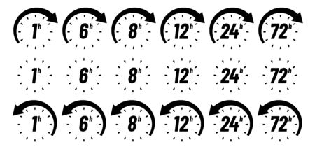 Hours time icon. One hour, 24h and 72h badges. Limited offer clocks and work time. Deadline metaphor icons, timer clock or time measurement interface. Isolated sign vector set Ilustração