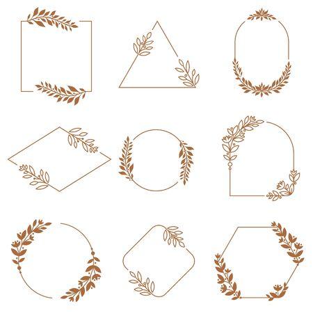 Floral ornament badge frames. Ornamental flowers, leaves and branches wreath badges frame. Minimalist decorative emblem frames, vintage botanical borders. Isolated vector signs set Ilustração