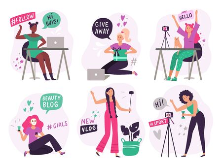 Cute blogger girls. Beauty bloggers create and post video content, smiling vlogger girl and online young woman blog. Social media vlog phones shooting. Isolated flat vector illustration icons set