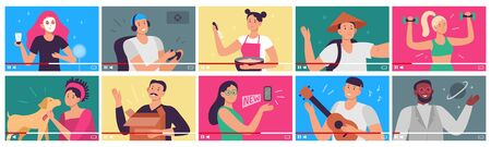 Video tutorial. Bloggers, content creators and bloggers influences videos in player interface. People shoot video tutorials for internet, education blogs. Flat vector illustration icons set Ilustração