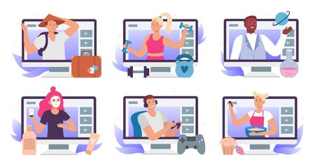 Video bloggers. Beauty blogger or vlogger, travel blog and lets play gamer stream translation. Fitness, cooking and science education video tutorial. Lifestyle vlogging isolated flat vector icons set