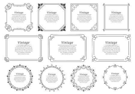 Royal hand drawn text frame. Retro elegant graphic frame, vintage ornamental border and decorative book emblem. Birthday or wedding victorian invitation divider. Certificate isolated vector icons set Ilustração