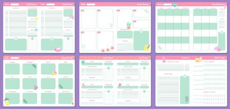 Funny planner templates. Daily, weekly, monthly and yearly planners pages. Goal planner and to do list, notebook with month calendar or 2020 memo planner. Isolated vector icons set