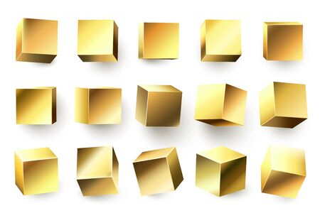 Gold metal cube. Realistic geometric 3D square shape, golden metallic cubes and shiny yellow shapes. Geometry foil boxes, gradient cube figures. Isolated vector illustration icons set Ilustração