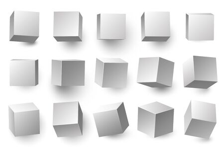 Realistic 3D white cubes. Minimal cube shape with different perspective, geometric box shapes. Medical packing, gift wrapping boxes or cube container. Isolated vector illustration symbols set