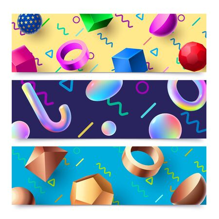 Abstract 3D geometric shapes banners. Colorful 80s holographic 3D objects background, modern art composition banner frame. Abstraction posters, hipster 90s brochure isolated vector set