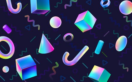 Abstract colorful geometric 3D blocks. Holographic gradients VR polygonal shapes, cyberspace art and futuristic 80s memphis poster. Abstraction banner, geometry forms vector background Ilustração