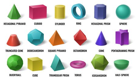 Realistic 3D color basic shapes. Solid colored geometric forms, cylinder and colorful cube shape. Maths geometrical figure form, realistic shapes model. Isolated vector illustration icons set Ilustração