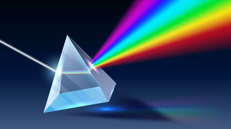 Prisma realistico. Dispersione della luce, spettro arcobaleno ed effetto ottico. Rifrazioni dei raggi di fisica ottica, prisma piramidale che riflette un'illustrazione vettoriale 3D realistica