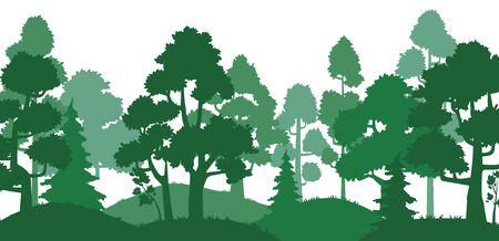 Silueta de árboles forestales. Paisaje de la naturaleza, callejón del parque verde y siluetas de árboles. Pinos, bosques, árboles de hierba de hoja perenne o colinas, ilustración de vector de tarjeta de viaje de roble