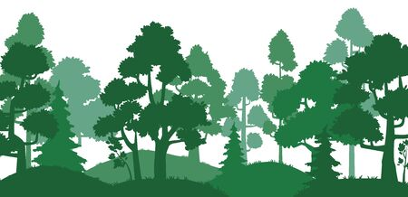 Forest trees silhouette. Nature landscape, green park alley and tree silhouettes. Wood pines, forests land evergreen herb trees or hills oak travel card vector illustration Illustration