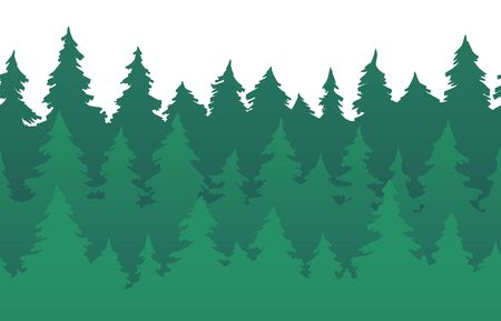 Forest fir trees seamless pattern. Pine silhouette, nature forests and green tree silhouettes. New 2020 year trees greeting card or forest evergreen pines branch vector background illustration Ilustração