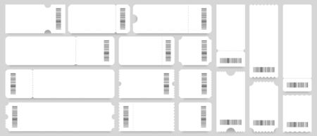 Ticket or coupon template. Empty white tickets mockup, vintage coupons with barcode. Discount voucher card blank, cinema or party invitation entry flyer ticket layout. Isolated vector icons set