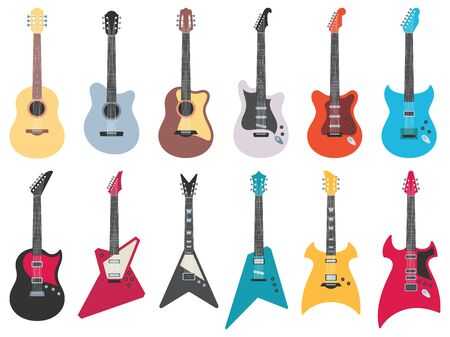 Flat guitars. Electric rock guitar, acoustic jazz and metal strings music instruments. Musical band guitars instrument retro design. Colorful isolated flat vector illustration icons set Ilustração