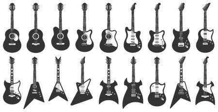 Black and white guitars. Acoustic strings music instruments, electric rock guitar silhouette and stencil guitars. Musician equipment, heavy metal concert guitar. Isolated icons vector set