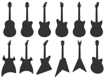 Guitar silhouette. Acoustic Jazz guitars, musical instruments silhouettes and electric rock guitar shape. String concert classical guitars instrument. Isolated vector icons set Ilustração
