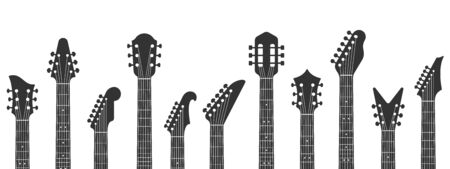 Guitar headstocks. Guitars necks, rock music and guitar peghead with tuning pegs. Acoustic and electric guitar neck silhouette isolated vector illustration