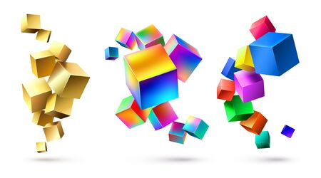 Abstract cubes compositions. Golden geometric shapes, colorful cubic 3D composition and bright color cube abstraction. Mosaic puzzle brick realistic box. Isolated vector illustration set