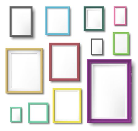 Realistic color photo frame. Rectangular picture frame hanging wall with realistic shadow, square borders and modern simple frames template. Wall photo shot album isolated vector icons set Векторная Иллюстрация