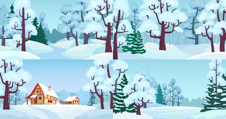 Cartoon winter forest landscapes. Village in woods with snow caps on houses, snowed field and winter trees. Snowy winter christmas countryside house, Xmas greeting card vector illustration set