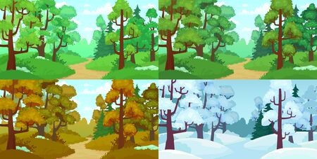 Forest path. Spring and summer trees, autumn leaves and winter forest trees. Four seasons landscape, season changing wood path nature cartoon vector illustration