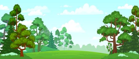 Cartoon forest glade. Green grassland, natural thriving forest field landscape and summer sky with clouds. Woodland scene, forests glade or fantasy wallpaper vector background illustration
