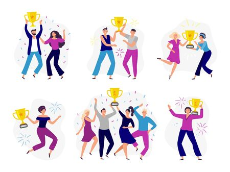 People win cup. Couple winners, man and woman holding gold cup. Success business tram win prize and celebrating victory. Businessman character progress. Isolated vector illustration icons set