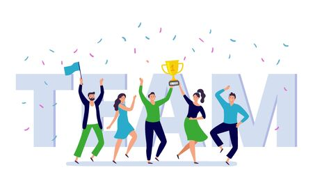 Team of corporate people celebration. Happy office workers celebrate win golden cup, teamwork trophy and success persons. Businessman celebration festival party flat vector illustration Ilustração