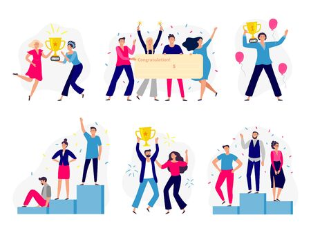 Winners people. Happy couple win gold cup, office workers team win cash check and successful winner standing on podium. Teamwork employee reward. Flat isolated vector illustration icons set