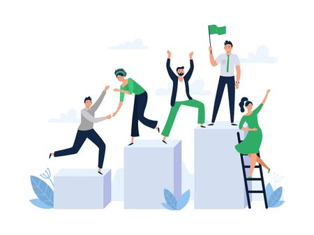 Career ladder with team people. Office worker hold flag, group leader and team building. Business work achievement, leadership character competition growth flat vector illustration
