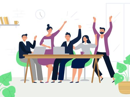 Excited office workers team. Successful managers, happy professional work group and colleagues rejoicing together. Teamwork, business people corporate working flat vector illustration