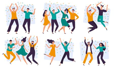 Joyful people. Cheerful couple, happy team celebrating together and group of smiling people. Excited teenager friends characters or joyful businesspeople. Isolated flat vector illustration icons set