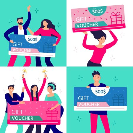 People hold gift coupon. Happy man, woman and couple rejoicing winning and holding gifts certificate. Group of people win gift voucher. Characters with shopping discount flat vector illustration set Ilustração