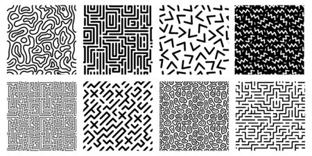 Seamless geometric pattern. Striped labyrinth, 80s style texture and abstract digital maze patterns. Ink geometric doodle, trendy memphis fabric. Isolated vector icons set