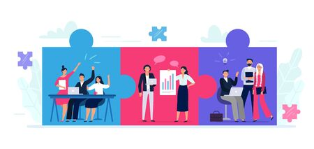 Connected teams puzzle. Office workers team cooperation, teamwork collaboration and business partnership. People work together. Jigsaw puzzle communication strategy metaphor flat vector illustration Ilustração