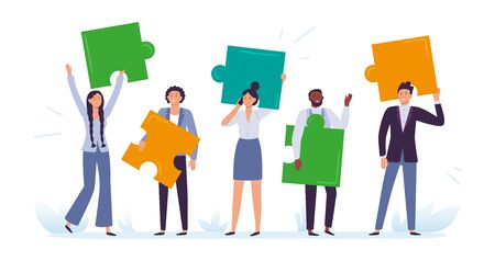 Business team with puzzle pieces. Office workers solve puzzle, employee cooperation and teamwork communication. Together cooperation solutions, teams brainstorming flat vector illustration