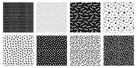 Memphis seamless patterns. Geometric lines and dots texture, black and white 80s textures and funky pattern. Abstract 90s pattern, memphis repeat posters or fabric. Isolated vector icons set