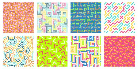 Color seamless geometric pattern. Colorful maze pattern, memphis style texture and 80s fashion design patterns. Pop 90s abstract colorful retro posters. Isolated vector icons set Ilustração
