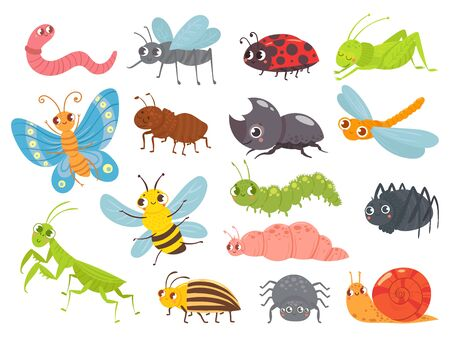 Cute cartoon insects. Funny caterpillar and butterfly, children bugs, mosquito and spider. Green grasshopper, ant and ladybug. Bug insect colorful isolated vector illustration icons set Illusztráció