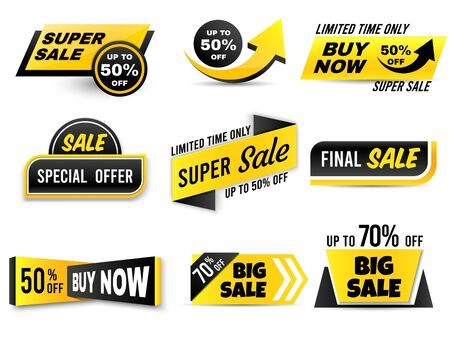 Sale banners. Special offer banner, low price tags and super sale badges. Shopping sales offer sticker, promotion flyer coupon or retail promotional label. Isolated vector icons set Ilustração