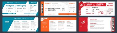 Airplane tickets. Airline ticket template with passenger name, aircraft trip flying tickets. travelling departure plane ticket, aircraft travel card vector illustration set