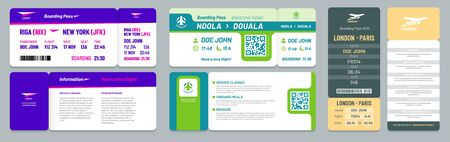 Airline tickets. Airplane boarding pass, travel flight invitation and business airplane trip ticket. Air traveling tickets document with flight date. Isolated vector illustration icons set